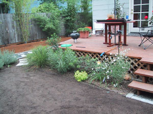 Bed-- Deck-- and soil down for yard